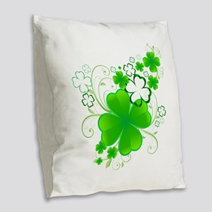 Clovers and Swirls Burlap Throw Pillow