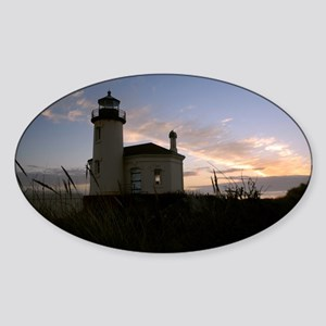 Bandon Lighthouse Sunset Sticker (Oval)