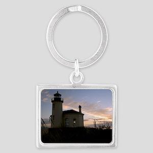 Bandon Lighthouse Sunset Landscape Keychain