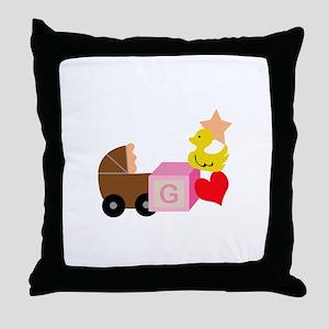 BABY GIRL CORNER BORDER Throw Pillow