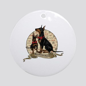 The Gentleman's Terrier by Molly Ya Round Ornament
