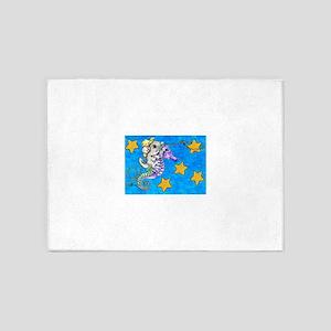 Chinchilla Riding a Seahorse Lassoing Stars 5'x7'A