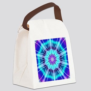 Blue and Purple Tie Dye Canvas Lunch Bag