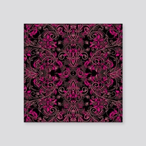 "Pink Damask and Vines Square Sticker 3"" x 3"""