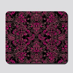 Pink Damask and Vines Mousepad