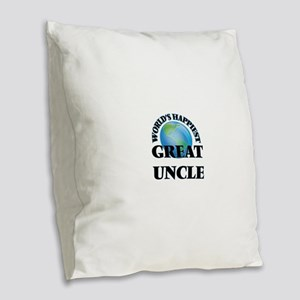 World's Happiest Great Uncle Burlap Throw Pillow