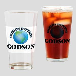 World's Happiest Godson Drinking Glass