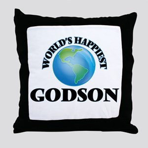 World's Happiest Godson Throw Pillow