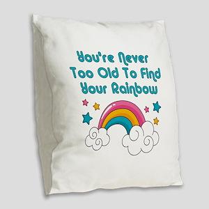 Find Your Rainbow Burlap Throw Pillow