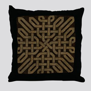 Light Leather Celtic Knot Throw Pillow