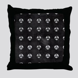 Silver Rivets on Black Throw Pillow