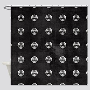 Silver Rivets on Black Shower Curtain