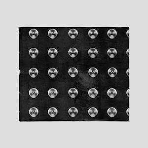 Silver Rivets on Black Throw Blanket