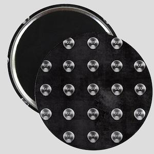 Silver Rivets on Black Magnet