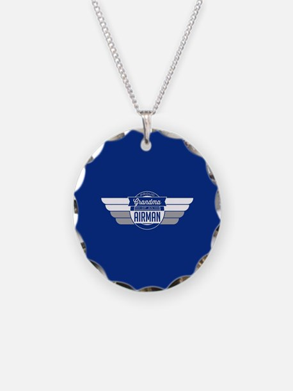 Proud Grandma of an Airman Necklace Circle Charm