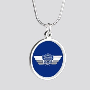 Proud Grandma of an Airman Silver Round Necklace