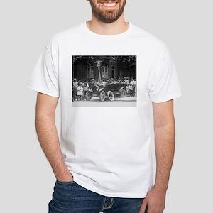 CAR CRASH funny stock photo print on white t-shirt
