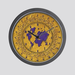 Wall Clock with Time Zones Gold Texture Wall Clock