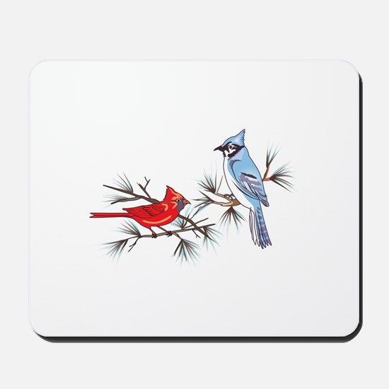 BLUEJAY AND CARDINAL Mousepad