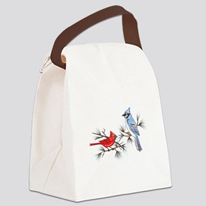 BLUEJAY AND CARDINAL Canvas Lunch Bag
