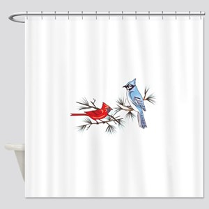 BLUEJAY AND CARDINAL Shower Curtain