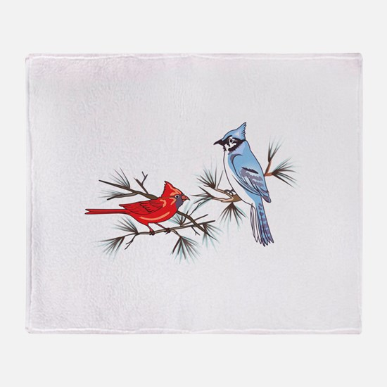 BLUEJAY AND CARDINAL Throw Blanket