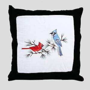 BLUEJAY AND CARDINAL Throw Pillow