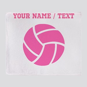Pink Volleyball (Custom) Throw Blanket