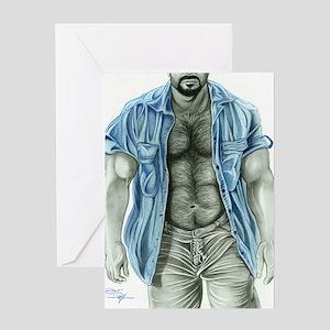 Blue shirt2 Greeting Card