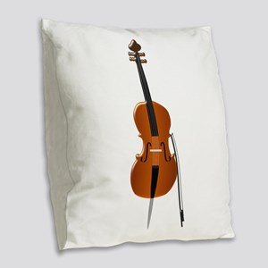 Cello Burlap Throw Pillow