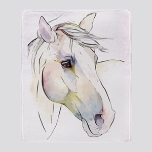White Horse Eyes Throw Blanket