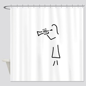 trumpet player Woman Shower Curtain