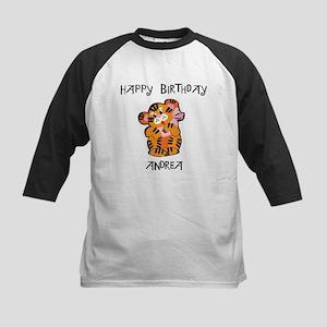 Happy Birthday Andrea (tiger) Kids Baseball Jersey
