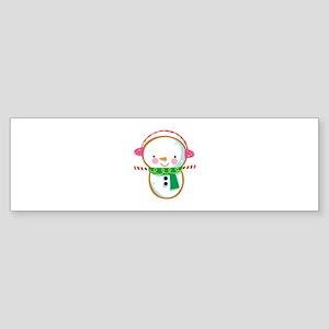 SNOWMAN APPLIQUE Bumper Sticker