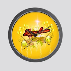 Happy easter on soft yelow background Wall Clock