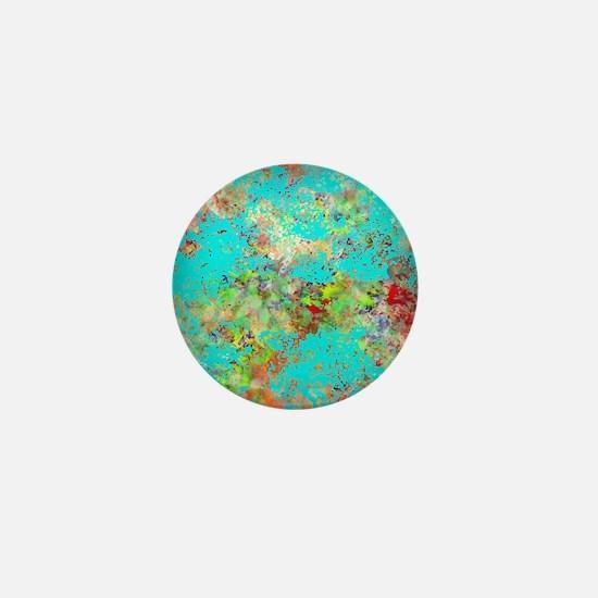 Abstract Garden with Aqua Splash Mini Button