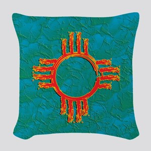 3D TURQUOISE GRUNGE ZIA Woven Throw Pillow