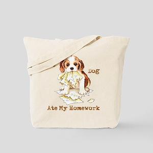 Cavalier Ate Homework Tote Bag