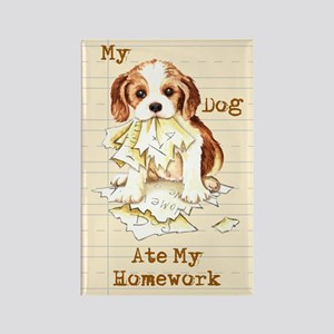 Cavalier Ate Homework Rectangle Magnet