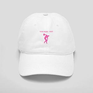 Pink Discus Throw Silhouette (Custom) Baseball Cap