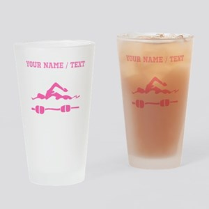 Pink Swimmer (Custom) Drinking Glass