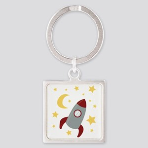 Rocket In Space Keychains