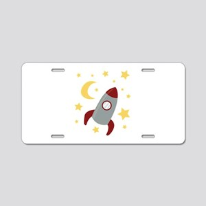 Rocket In Space Aluminum License Plate