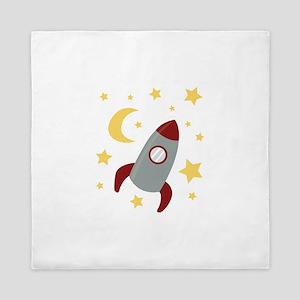 Rocket In Space Queen Duvet