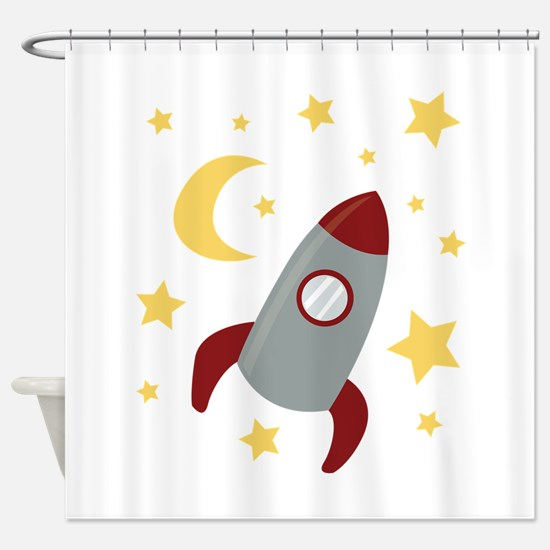 Rocket In Space Shower Curtain