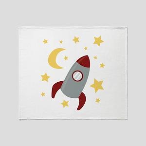 Rocket In Space Throw Blanket