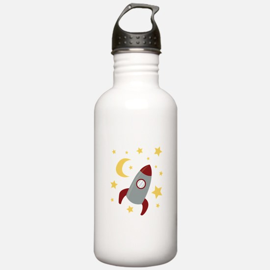 Rocket In Space Water Bottle