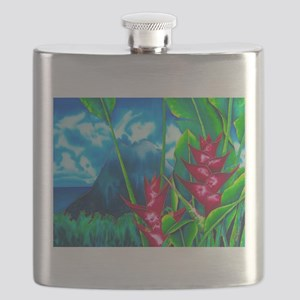 St. Lucia & Heliconia Flower Flask