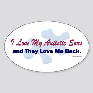 My Sons Love Me Back Oval Sticker