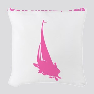 Pink Sail Boat Silhouette (Custom) Woven Throw Pil